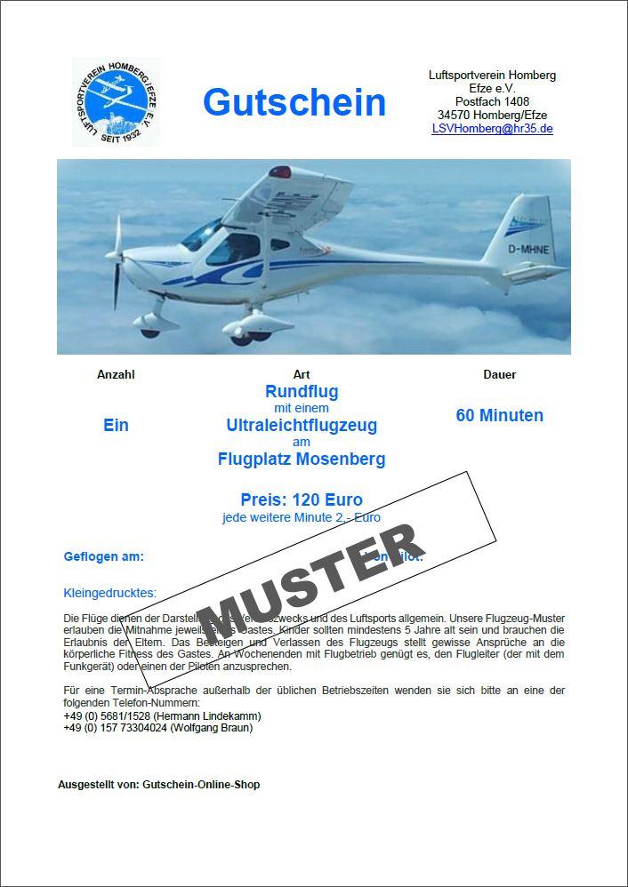 Gutschein Mitflug Ultraleicht 60 Minuten